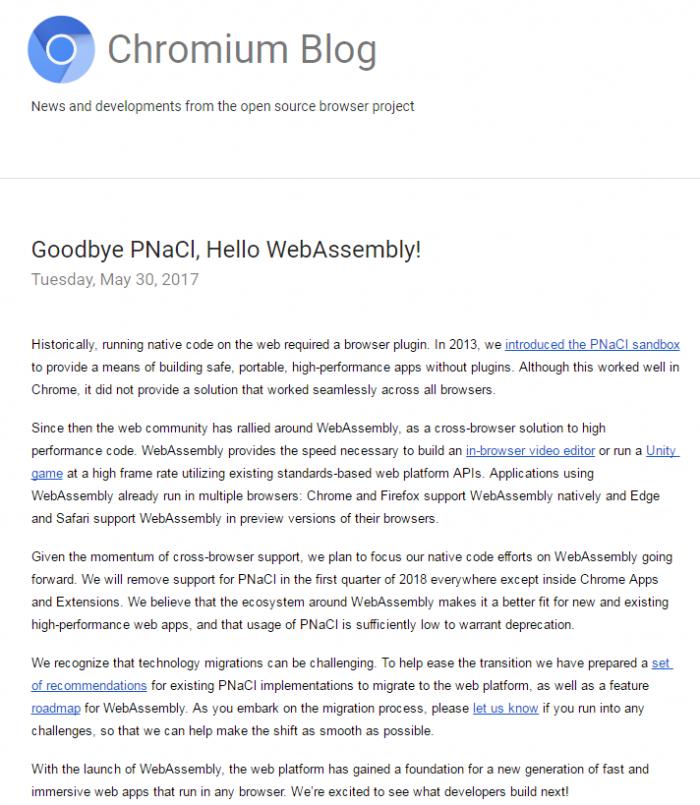 Chrome 将停止支持PNaCl ,拥抱WebAssembly - OSCHINA